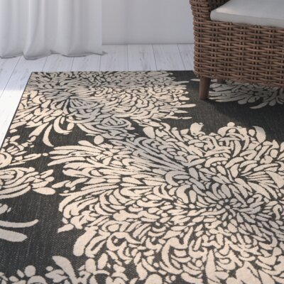 Chrysanthemum Black/Beige Area Rug Rug Size: Rectangle 67 x 96