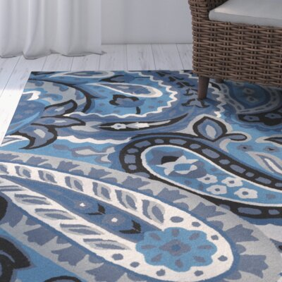 Cynthia Aqua/Navy Indoor/Outdoor Area Rug Rug Size: 9 x 12