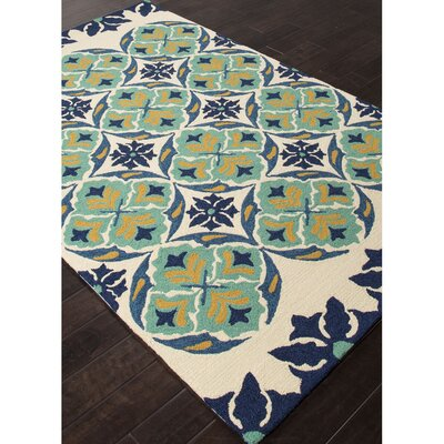 Sardinia Hand Hooked Blue/Black Indoor/Outdoor Area Rug