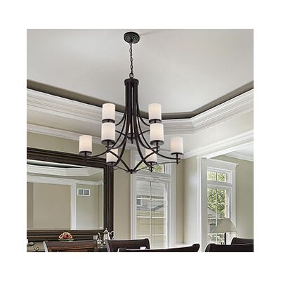 Agnes 9-Light Shaded Chandelier Finish: English Bronze