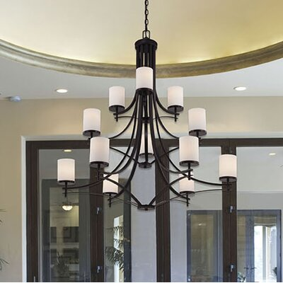 Agnes 12-Light Shaded Chandelier Finish: English Bronze