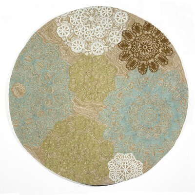 Willa Crochet Aqua Indoor/Outdoor Rug Rug Size: Round 8
