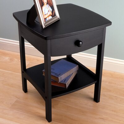 Carlton 1 Drawer Nightstand Color: Black