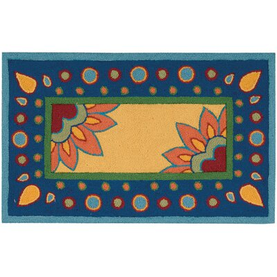 Shonda Hand-Tufted Yellow/Blue Area Rug