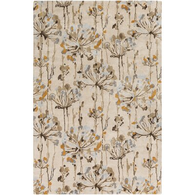 Walshville Hand-Tufted Floral and Paisley Beige/Brown Area Rug Rug Size: 33 x 53
