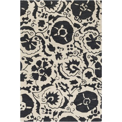 Ariadne Hand-Tufted Black/Cream Area Rug Rug Size: 5 x 76