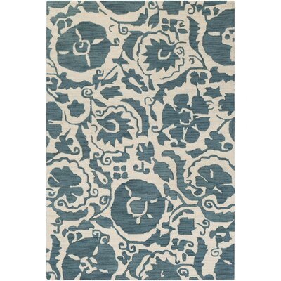 Julie Hand-Tufted Teal/Cream Area Rug Rug Size: 8 x 10