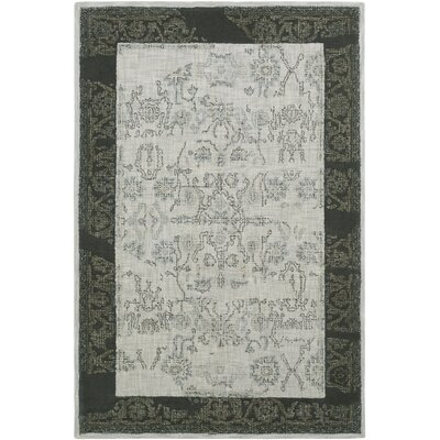 Alexis Hand-Tufted Black/Medium Gray Area Rug Rug Size: Rectangle 5 x 76
