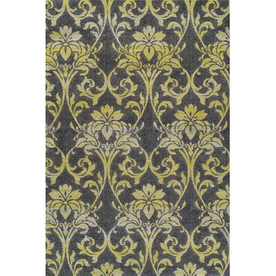 Babylon Yellow Ikat Pewter Area Rug Rug Size: 33 x 51