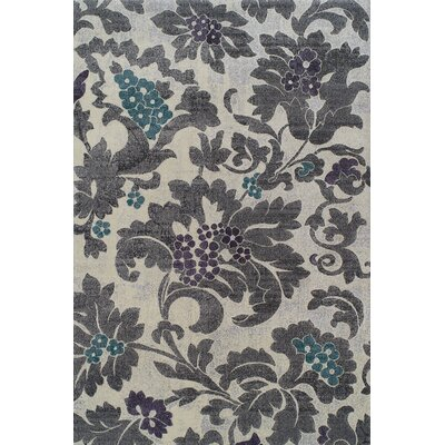 Babylon Silver Floral Area Rug Rug Size: Rectangle 53 x 77