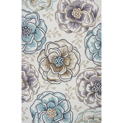 Hermina Hand-Hooked Ivory Area Rug Rug Size: Rectangle 5 x 76