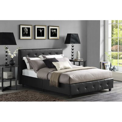 Salina Upholstered Platform Bed Size: Twin, Color: Black