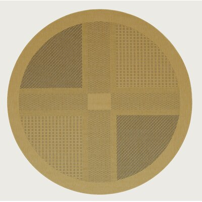 Short Natural / Brown Outdoor Area Rug Rug Size: Round 67