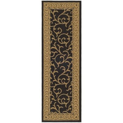 Short Black / Natural Outdoor Area Rug Rug Size: Runner 24 x 12