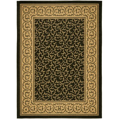 Short Black / Natural Outdoor Area Rug Rug Size: Rectangle 53 x 77