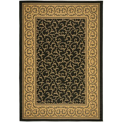 Short Black / Natural Outdoor Area Rug Rug Size: Round 710