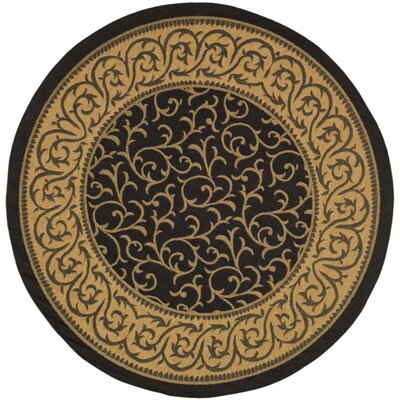 Short Black / Natural Outdoor Area Rug Rug Size: Round 67