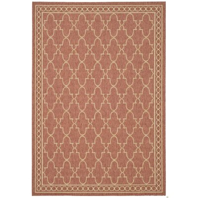 Welby Rust/Sand Checked Outdoor Rug Rug Size: Runner 27 x 5