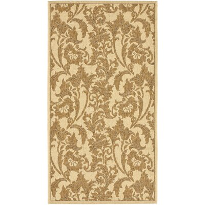 Short Creme / Brown Outdoor Area Rug Rug Size: Rectangle 27 x 5