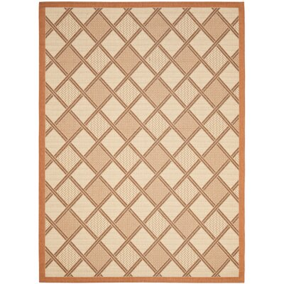 Short Cream / Terracotta Indoor/Outdoor Tile Rug Rug Size: Rectangle 53 x 77