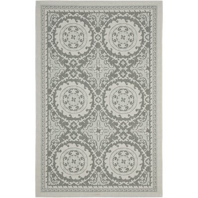 Short Anthracite/Light Grey Oriental Rug Rug Size: Rectangle 53 x 76
