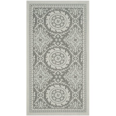 Short Light Grey/Anthracite Indoor/Outdoor Rug Rug Size: Runner 23 x 67