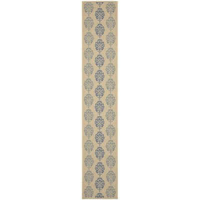 Short Natural / Blue Outdoor Area Rug Rug Size: Runner 23 x 12