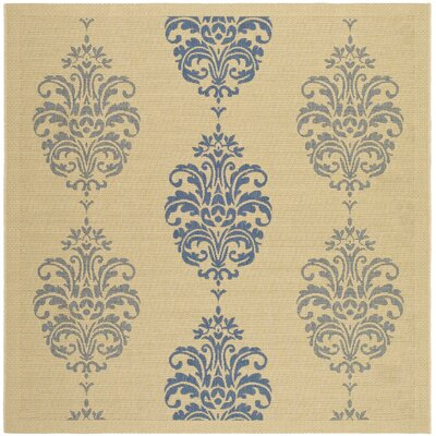 Short Natural / Blue Outdoor Area Rug Rug Size: Square 67