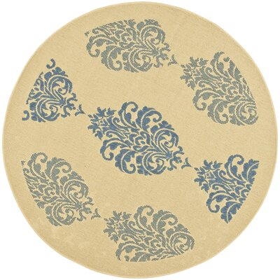 Short Natural / Blue Outdoor Area Rug Rug Size: Round 53