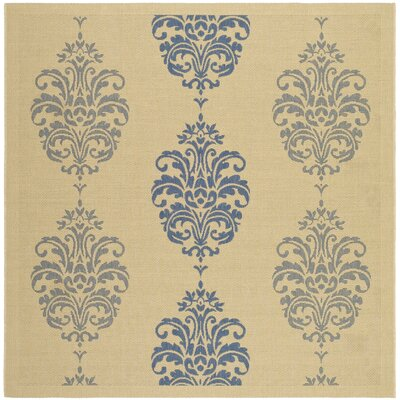 Short Natural / Blue Outdoor Area Rug Rug Size: Square 710