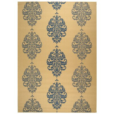 Short Natural / Blue Outdoor Area Rug Rug Size: Rectangle 53 x 77