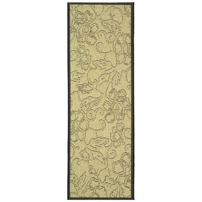 Short Sand / Black Outdoor Area Rug Rug Size: Rectangle 27 x 5