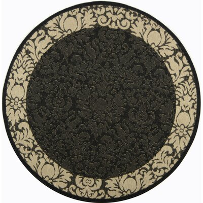 Short Black / Sand Outdoor Area Rug Rug Size: Round 53
