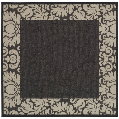 Short Black / Sand Outdoor Area Rug Rug Size: Square 67