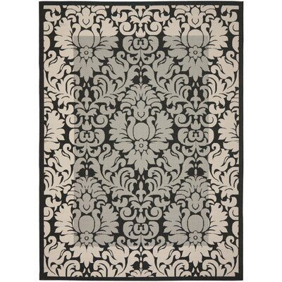 Short Black / Sand Outdoor Area Rug Rug Size: 53 x 77
