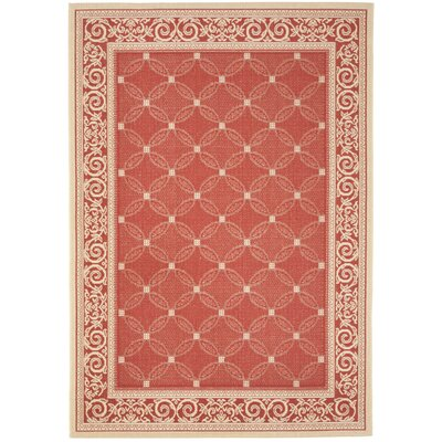 Short Red / Natural Indoor/Outdoor Machine made Rug Rug Size: 53 x 77
