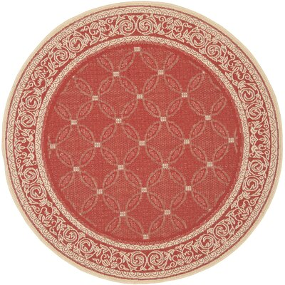 Short Red / Natural Indoor/Outdoor Machine made Rug Rug Size: Round 67