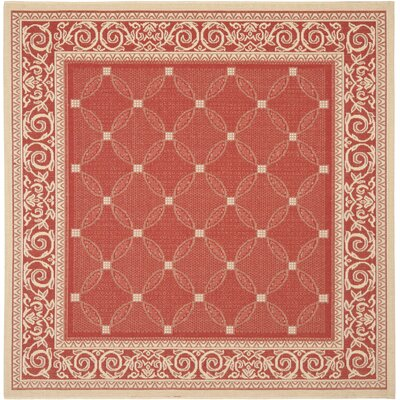 Short Red / Natural Indoor/Outdoor Machine made Rug Rug Size: Square 67