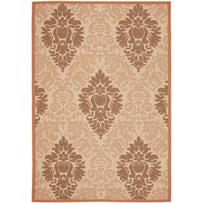 Short Cream / Terracotta Indoor/Outdoor Rug Rug Size: Rectangle 53 x 77