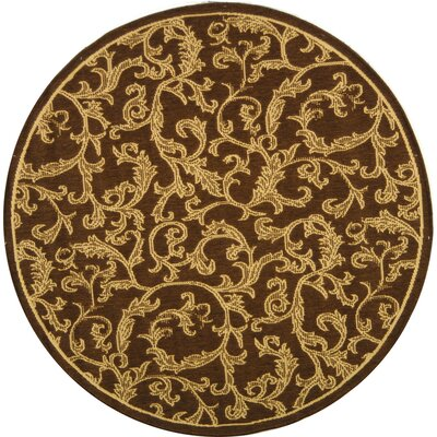 Short Brown/Natural Outdoor/Indoor Area Rug Rug Size: Round 53