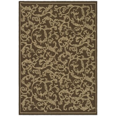 Short Brown/Natural Outdoor/Indoor Area Rug Rug Size: Rectangle 53 x 77