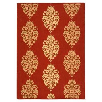 Short Red/Natural Outdoor Rug Rug Size: Rectangle 2 x 37