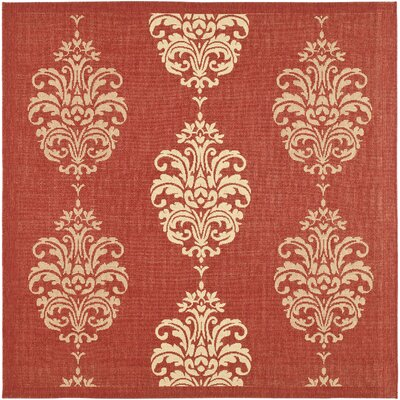 Short Red/Natural Outdoor Rug Rug Size: Square 67