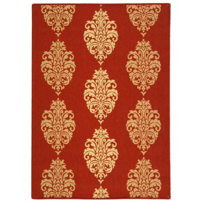 Short Red/Natural Outdoor Rug Rug Size: Rectangle 4 x 57