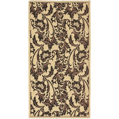 Short Tan / Black Outdoor Area Rug Rug Size: Rectangle 27 x 5