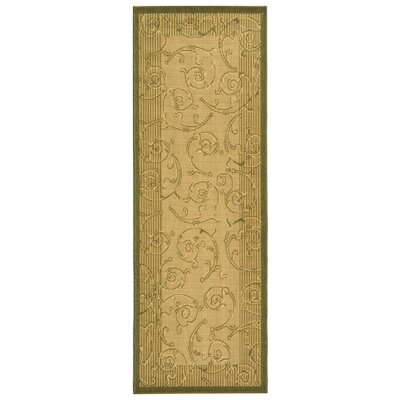 Alberty Natural/Olive Outdoor Rug Rug Size: Runner 24 x 911