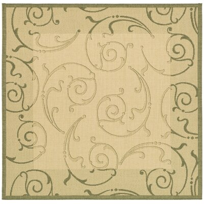 Alberty Natural/Olive Outdoor Rug Rug Size: Square 67
