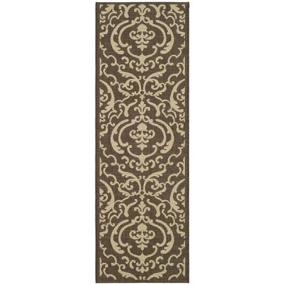 Short Chocolate/Natural Outdoor Rug Rug Size: Runner 23 x 14