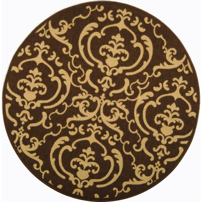 Short Chocolate/Natural Outdoor Rug Rug Size: Round 53