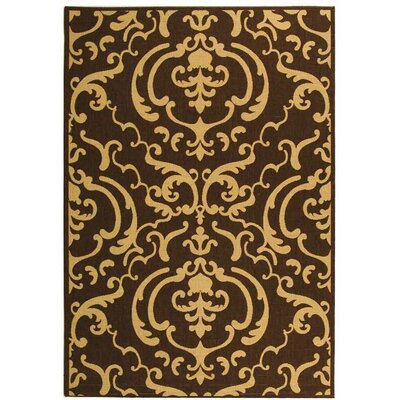 Short Chocolate/Natural Outdoor Rug Rug Size: Rectangle 53 x 77